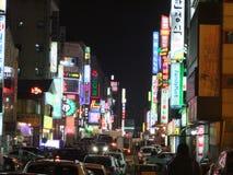 Asiatische Stadt in der Nacht Stockfotografie