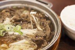 Asiatische würzige Suppe gemacht von der Fleisch- und Zwiebelnahaufnahme stockbild