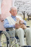Asiatischer älterer Mann, der auf einem Rollstuhl mit Pflegekraft und Hund sitzt Lizenzfreie Stockbilder