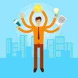 Asiatischer beschäftigter Manager Business Man With viele Handgriff-Megaphon, Dokument, Glühlampe, Münzen-Erfolgs-Konzept lizenzfreie abbildung