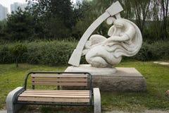 Asiatischer Chinese, internationaler Skulpturenpark Pekings, Harfe, Stockfotos