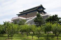Asiatischer Chinese, Peking, alte Architektur, Zhengyang Jianlou Stockbild