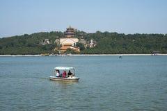 Asiatischer Chinese, Peking, der Sommer-Palast, Kunming See, Weihrauch, Kreuzfahrt Stockfotografie