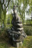 Asiatischer Chinese, Peking, internationaler Skulpturenpark, die Menschen des Altertums, guzheng Stockfotos