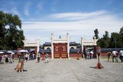 Asiatischer Chinese, Peking, Tiantan-Park, der Kreishügel-Altar, historische Gebäude Stockbilder