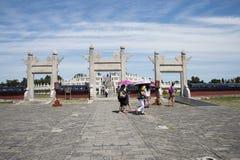 Asiatischer Chinese, Peking, Tiantan-Park, der Kreishügel-Altar, historische Gebäude Lizenzfreie Stockfotos