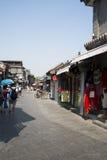 Asiatischer Chinese, Peking, Yandaixiejie, eine Einkaufsstraße im alten Stockbild