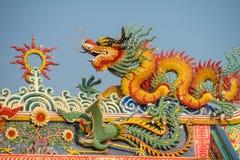 Asiatischer Drache im chinesischen Tempel lizenzfreies stockbild