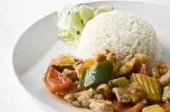 Asiatischer Fleischreis-Abendessensatz Stockfoto