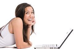 Asiatischer Frauenlaptop Lizenzfreie Stockfotografie