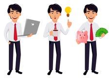 Asiatischer Geschäftsmann, Konzept der Zeichentrickfilm-Figur stock abbildung