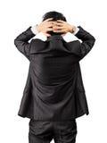 Asiatischer Geschäftsmann mit Ausfallausdruck über Weiß Lizenzfreies Stockfoto