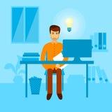 Asiatischer Geschäftsmann-sitzender Schreibtischleuchte-Birnen-neuer Ideen-Büro-Arbeitsplatz vektor abbildung