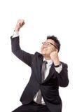 Asiatischer Geschäftsmann tun Faustpumpe für Erfolg Stockbild