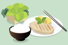 Asiatischer gesunder Mittagessen-Satz Lizenzfreie Stockfotos
