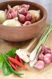 Asiatischer heißer und würziger Nahrungsmittelbestandteil mit Zwiebeln Stockfotos