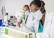 Asiatischer indischer weiblicher Laborwissenschaftler Green Test Tube lizenzfreie stockbilder