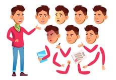 Asiatischer jugendlich Jungen-Vektor jugendlicher Erwachsene Leute beiläufig Gesichts-Gefühle, verschiedene Gesten Animations-Sch lizenzfreie abbildung