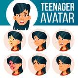 Asiatischer jugendlich Mädchen-Avatara-gesetzter Vektor Stellen Sie Gefühle gegenüber Benutzer, Charakter Spaß, nett Karikatur-Ha vektor abbildung