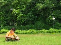 Asiatischer Junge, der draußen studiert stockbild