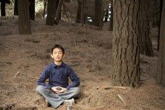Asiatischer Junge, der im Kieferwald meditiert Lizenzfreie Stockbilder