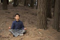 Asiatischer Junge, der im Kieferwald meditiert Stockfotografie