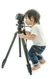 Asiatischer Junge des Babys mit cameera stockfotografie