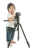 Asiatischer Junge des Babys mit cameera Lizenzfreie Stockfotografie