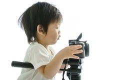 Asiatischer Junge des Babys mit cameera Stockfoto