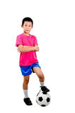 Asiatischer Junge mit Fußball Lizenzfreies Stockbild