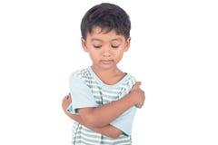 asiatischer kleiner Junge traurig und schwermütig lizenzfreies stockfoto