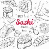 Asiatischer Lebensmittelrahmen Gezeichnete farbige Illustration des Vektors Hand Sushi stock abbildung
