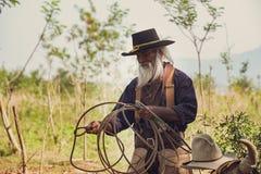 Asiatischer Mann-Cowboy f?ngt ein in der Ranch eingebrannt zu werden Kalb, stockfotos