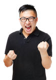 Asiatischer Mann, der aufgeregt glaubt Lizenzfreies Stockfoto