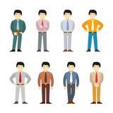 Asiatischer Mann der Karikatur in gesetzter flacher Art des Anzugs Verschiedene Haltungen und Kleidung stock abbildung