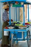 Asiatischer Mann, der Obst und Gemüse verkauft lizenzfreie stockfotografie