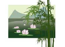 Asiatischer See mit Wasserlilie stock abbildung
