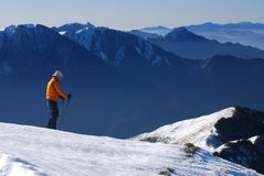 Asiatischer Skifahrer. Stockfotografie