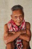 Asiatisches altes offenes Porträt des älteren Mannes Stockbild