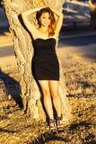 Asiatisches Amerikanerin-Schwarz-Kleid draußen dünn Lizenzfreies Stockfoto