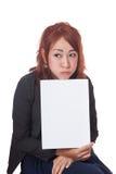 Asiatisches Büromädchen wird herauf Show ein leeres Zeichen eingezogen Lizenzfreies Stockfoto