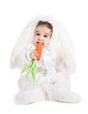 Asiatisches Baby in einem Abendkleid des Kaninchens Stockbilder