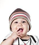 Asiatisches Baby in einer Schutzkappe Stockfotografie