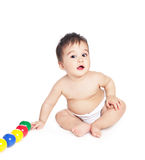 Asiatisches Baby mit Spielzeug Lizenzfreie Stockfotografie