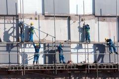 Asiatisches Bauarbeiter scraffold, Baustelle Lizenzfreies Stockbild