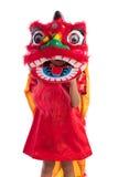 Asiatisches chinesisches kleines Mädchen mit Lion Dance-Kostüm Stockbilder