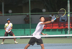 Asiatisches doppeltes Tennis Stockfotografie