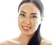 Asiatisches Frauenschönheitsgesichts-Nahaufnahmeportrait Schöne attraktive Mischrasse chinesisches asiatisches/kaukasisches weibl Stockfotografie