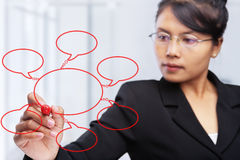 Asiatisches Geschäftsfrauschreiben auf Glasvorstand. Lizenzfreie Stockbilder