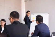 Asiatisches Geschäftsgeschenk in der Chefetagesitzung, Teamgruppe, die sich zusammen in der Konferenz im Büro, Geschäftsleute  stockfotografie